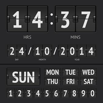 Timer digitale tabellone segnapunti nero con data e ora della settimana