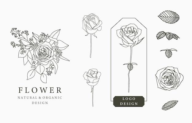 Collezione di logo fiore nero con foglie, geometrico.