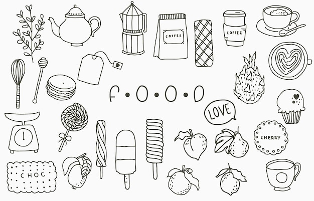 Collezione di linee di cibo nero con pentola, pesca, frutta, gelato, caffè, tè.illustrazione vettoriale per icona, logo, adesivo, stampabile e tatuaggio