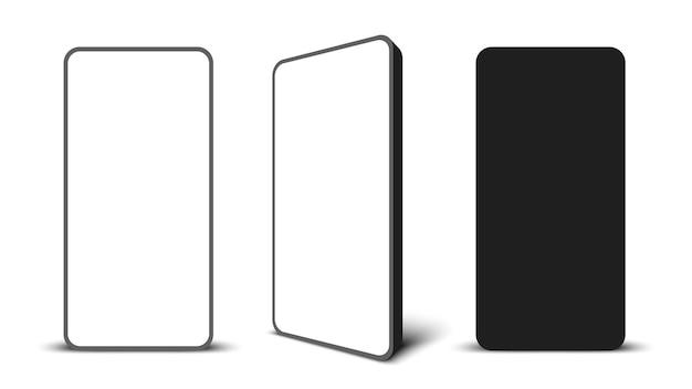 Smartphone senza cornice nero con display bianco illustrazione vettoriale