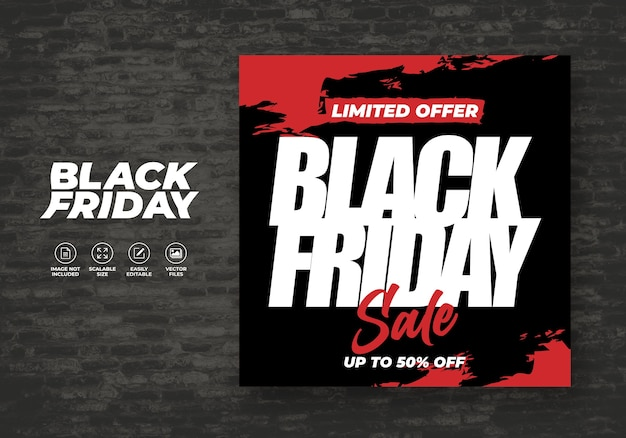 Modello di banner di design appartamento di vendita sui social friday black friday