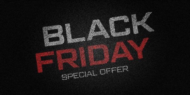 Sfondo del venerdì nero su jeans neri. banner promozionale per uno sconto speciale per le vacanze.