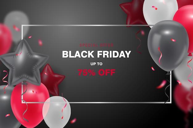 Sfondo nero venerdì con palloncino 3d