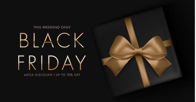 Sfondo nero venerdì con confezione regalo