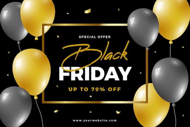Sfondo del venerdì nero con elementi di palloncini dorati