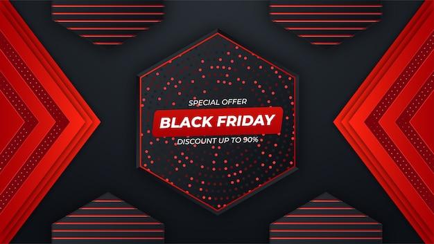 Sfondo nero venerdì con sfumatura rossa e nera
