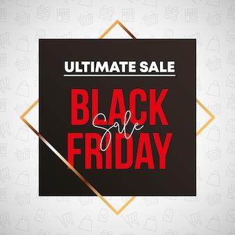 Design di banner venerdì nero con forma quadrata e cornice a rombo d'oro per icone di vendita