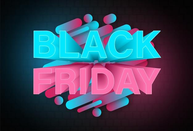 Modello di disegno al neon banner venerdì nero.