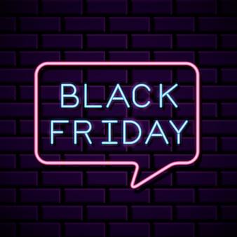 Neon banner venerdì nero con forma di bolla sul muro