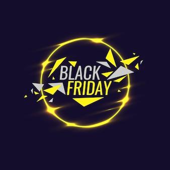 Poster originale del banner del black friday per forme geometriche scontate e bagliore al neon