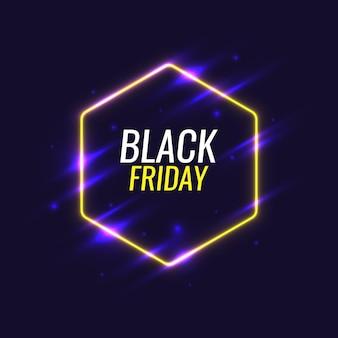 Poster originale del banner del black friday per sconti al neon su uno sfondo scuro