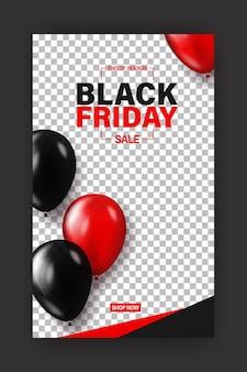 Banner del venerdì nero per la vendita dello shopping o il modello di storie sui social media.