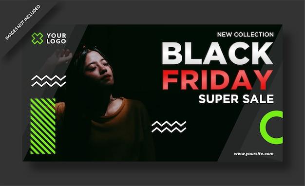 Banner del black friday e post sui social media