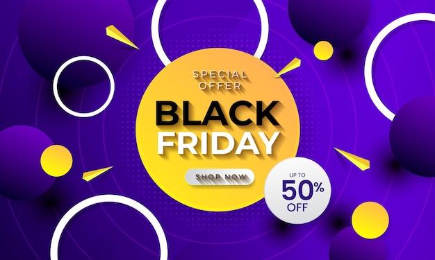 Offerta speciale banner black friday con concetto di cerchio realistico vettore premium