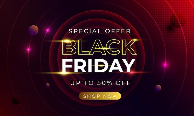 Offerta speciale banner black friday con concetto astratto rosso vettore premium