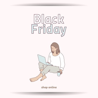 Negozio di sconti super vendita banner venerdì nero a casa ora