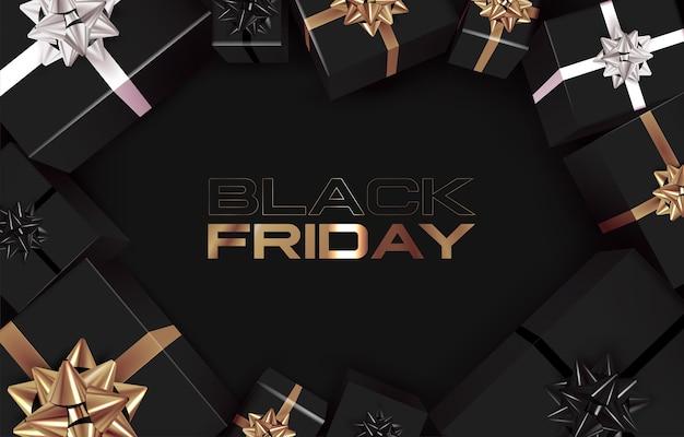 Modello di banner del black friday con confezione regalo nera vista dall'alto con nastri dorati