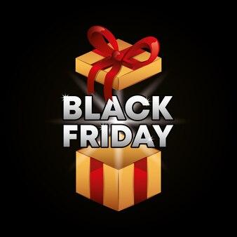 Banner venerdì nero con regalo scatola aperta e testo