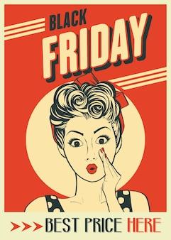 Banner di venerdì nero con ragazza pin-up. stile retrò.