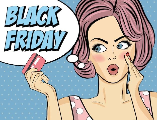 Banner di venerdì nero con ragazza pin-up.