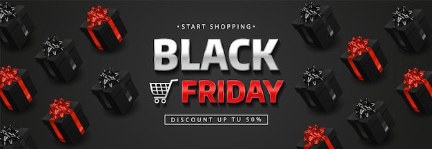 Banner del black friday con scatole regalo nere realistiche.