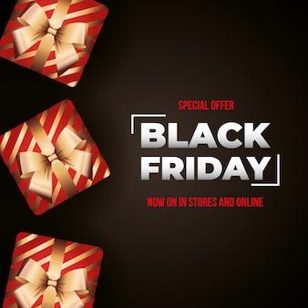 Banner di venerdì nero con regali scatola rossa