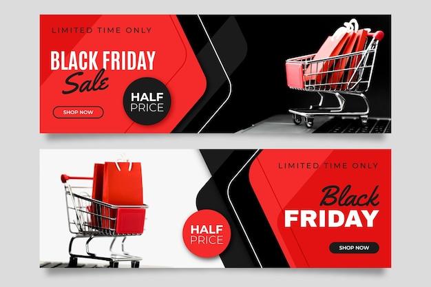 Banner venerdì nero con foto in design piatto
