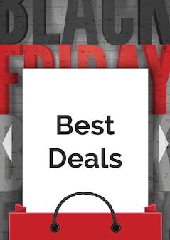 Black friday migliori offerte modello di banner vettoriale realistico. foglio di carta bianco con testo pubblicitario nella borsa della spesa. layout del poster pubblicitario di vendita con tipografia nera e rossa