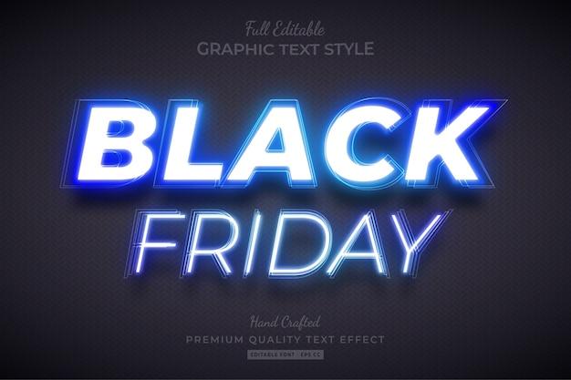 Effetto stile testo modificabile al neon blu venerdì nero