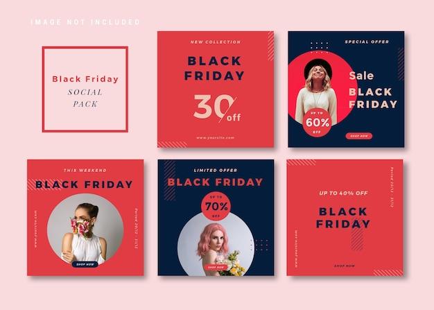 Modello di social media quadrato semplice e pulito del black friday per instagram, facebook, carosello