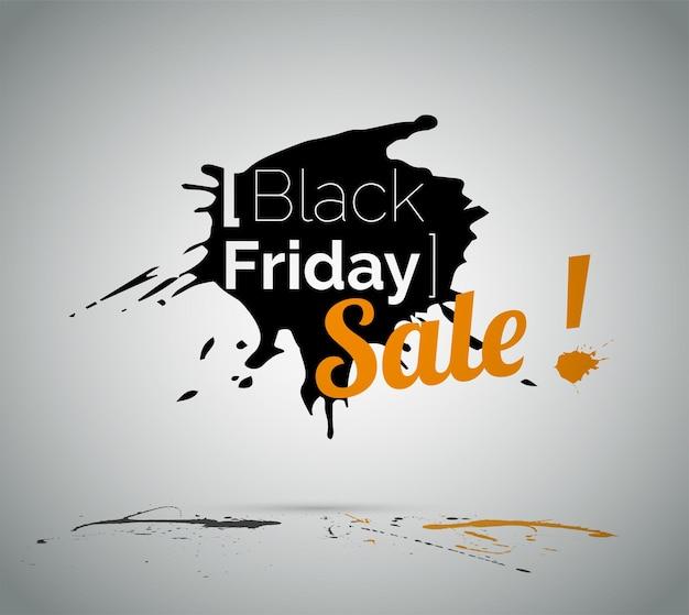Illustrazione vettoriale di vendita di liquidazione del black friday con tipografia. pubblicità a basso prezzo su schizzi di vernice nera. promozione dell'offerta speciale del negozio. annuncio di sconto