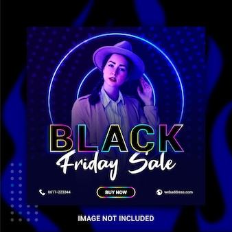 Venerdì nero concetto creativo vendite dinamiche social media banner post modello neon style