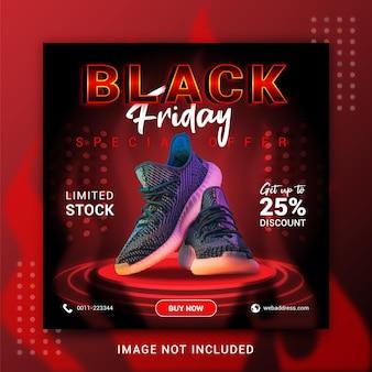 Modello di post banner social media di vendita dinamica di concetto creativo di black friday
