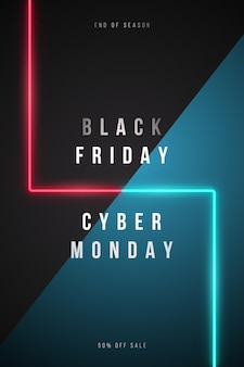 Banner verticale black friday e cyber monday