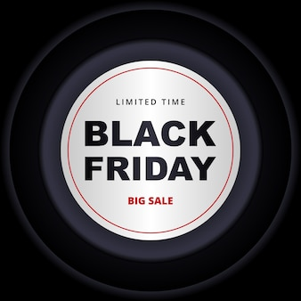 Banner scuro venerdì nero. modello di banner nero con cerchi bianchi e grigio scuro su sfondo nero.