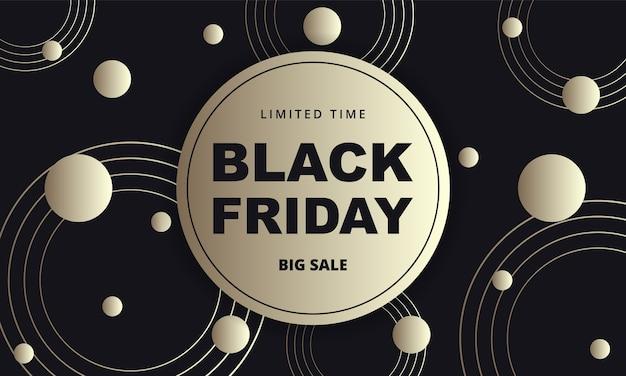 Insegna astratta dorata scura di venerdì nero. modello di banner di lusso venerdì nero con cerchi astratti neri e oro su sfondo nero.
