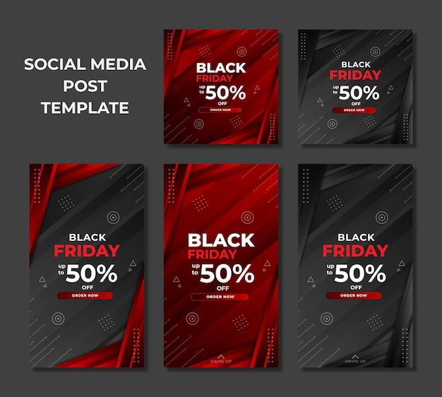 Modello di progettazione venerdì nero per post e storie sui social media
