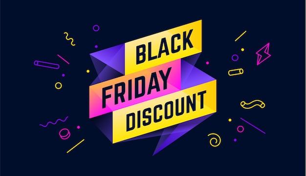 Sconto del black friday. banner di vendita 3d con testo sconto venerdì nero per emozione, motivazione.