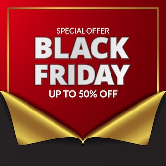 Ordito di carta dorata e rossa regalo regalo sconto venerdì nero per modello di banner