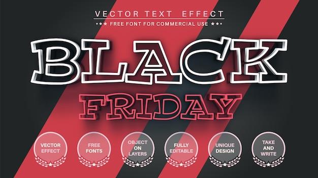 Black friday modifica lo stile del carattere modificabile dell'effetto del testo
