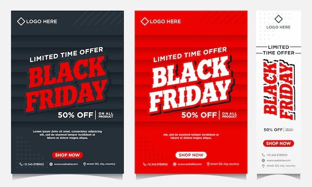 Banner di eventi del black friday, sfondo e social media e modello di volantino in colore sfumato nero e sfumatura rossa