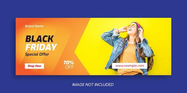 Modello di banner copertina facebook venerdì nero