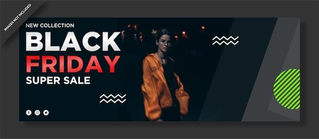 Copertina facebook del black friday e post sui social media