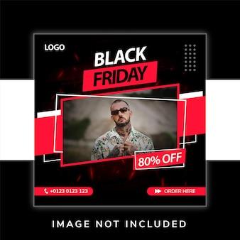 Promozione dei social media di moda del black friday e modello di progettazione di banner post per instagram