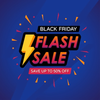 Banner di vendita flash del black friday con fulmini