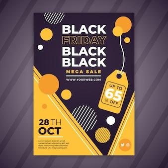 Modello di volantino venerdì nero in design piatto