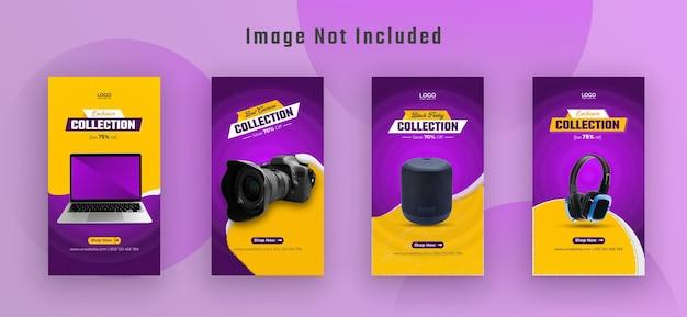 Black friday gadget collection storia di instagram e banner web vettore premium