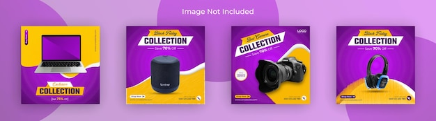 Black friday gadget collection per post sui social media e modello banner instagram premium vector
