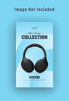 Black friday gadget sale storia di instagram e banner web vettore premium