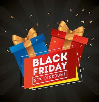 Progettazione di regali del black friday, offerta di vendita, risparmio e shopping